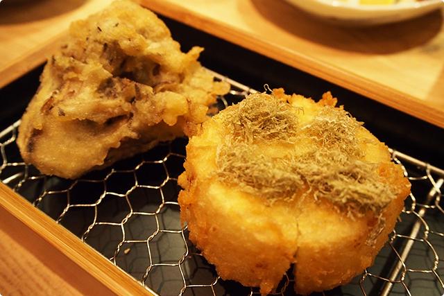 大根と舞茸!大根一番人気、さくっとした衣の中からジューシーなお出汁が!美味い!