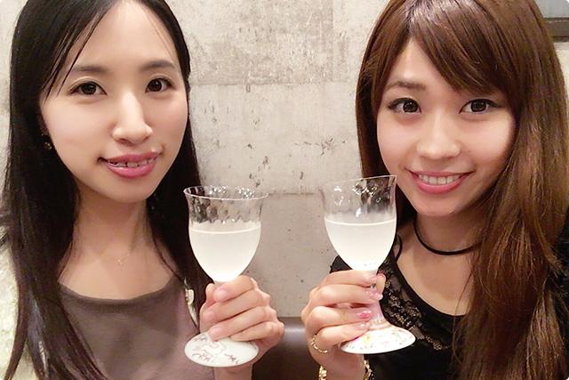 お洒落なグラスで乾杯〜♪