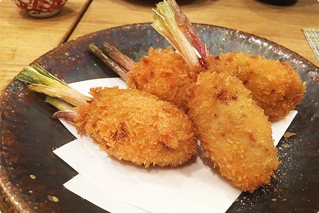 『生姜の豚肉巻き揚げ』