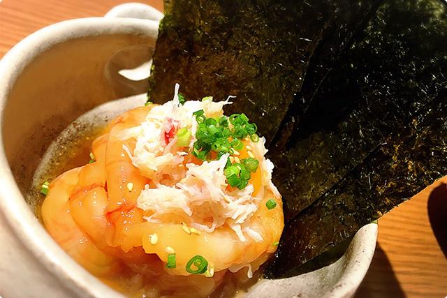『甘海老とズワイガニのユッケ』¥1,250