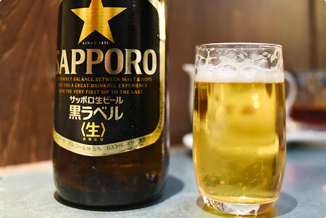 『黒ラベル 大瓶』 550円根性餃子 力石 立川店