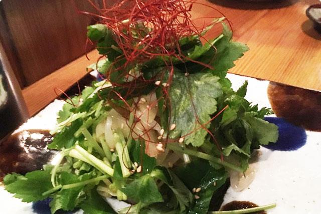 『新生姜と三つ菜の混ぜナムル』 鳥雅